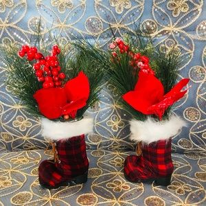 Two Christmas boot decor